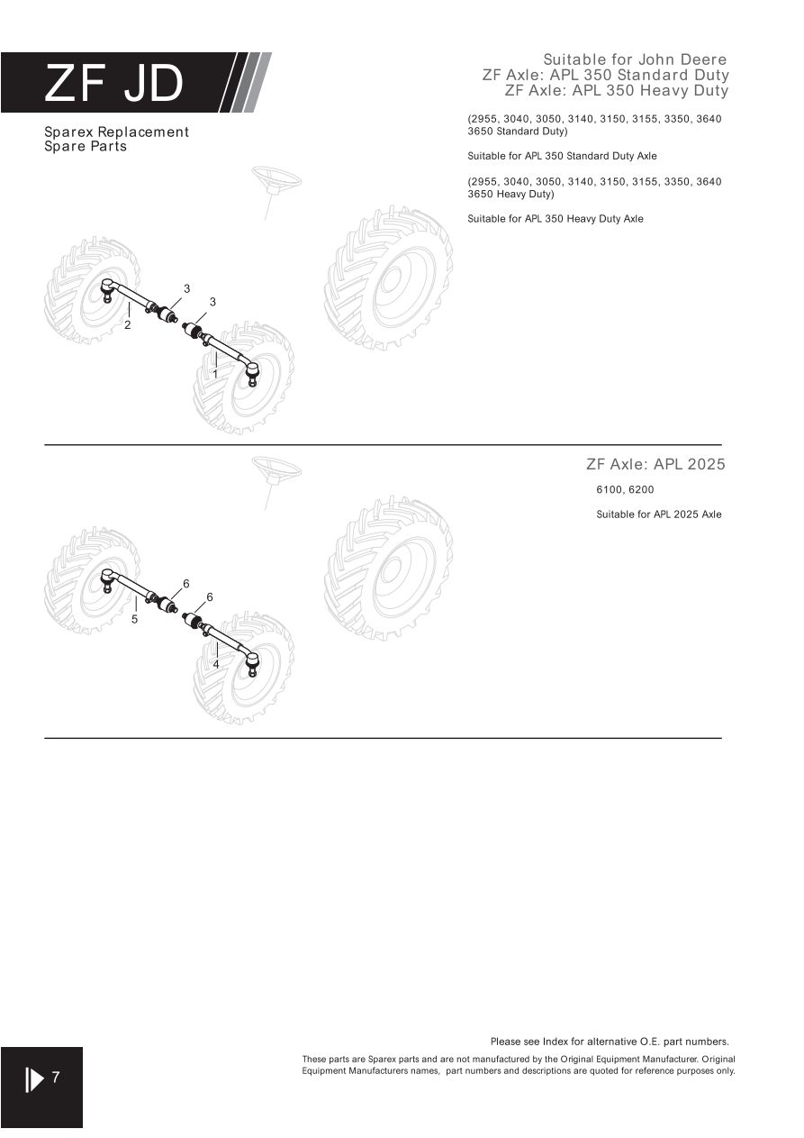 4wd Zf Axle Suitable For John Deere Page 56 Sparex Parts Lists 350 Wiring Diagram S70303 Fw05 7
