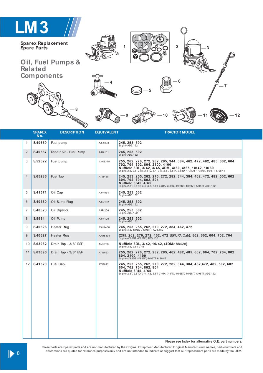 Leyland Marshall Engine Replacement Parts Page 18 Sparex Exploded Diagram Related Keywords Suggestions S70312 Lm03 8