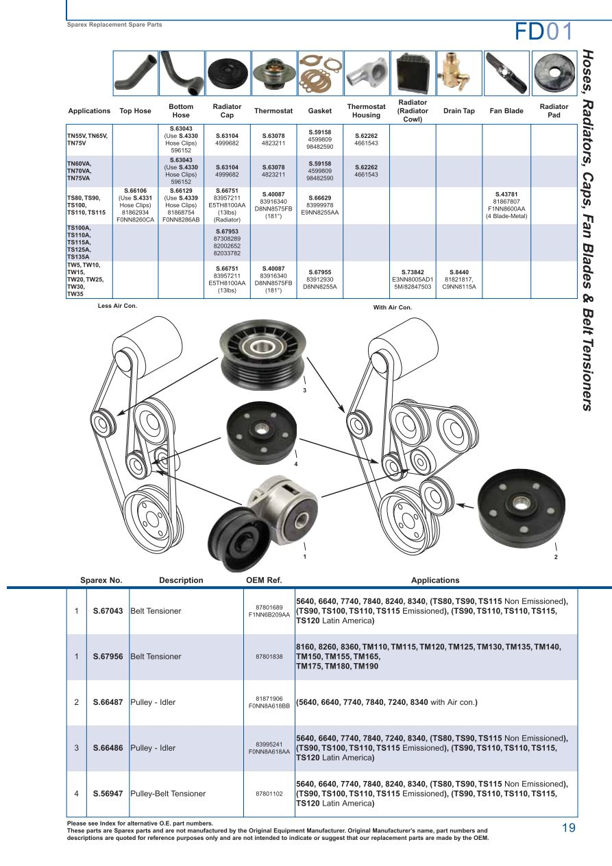 ford cooling (page 25) sparex parts lists & diagrams ford 8n 12 volt wiring s 73978 ford fd01 19