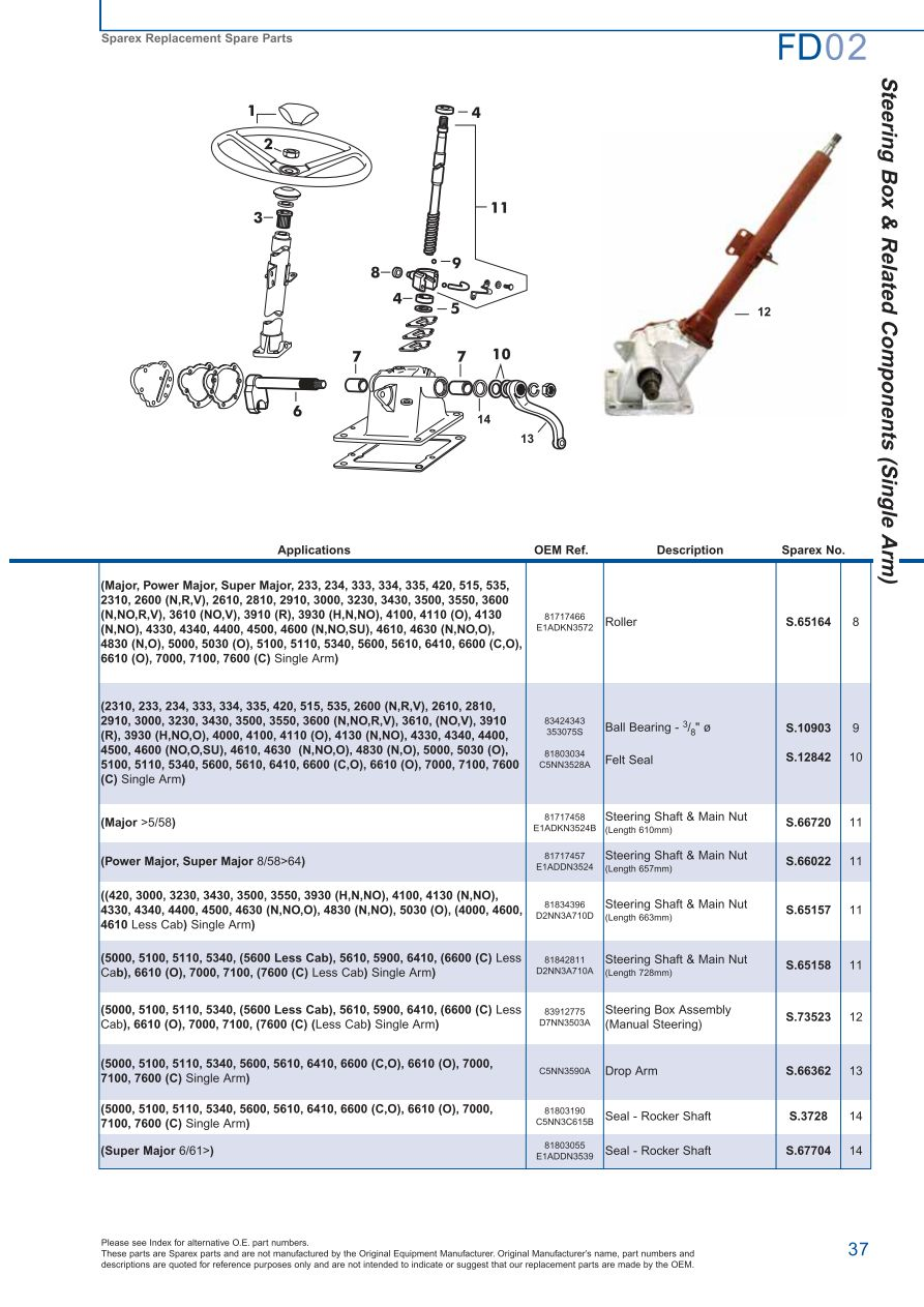 Ford Front Axle Page 43 Sparex Parts Lists Diagrams. S73978 Ford Fd0237. Ford. Ford 5000 Steering Column Diagram At Scoala.co