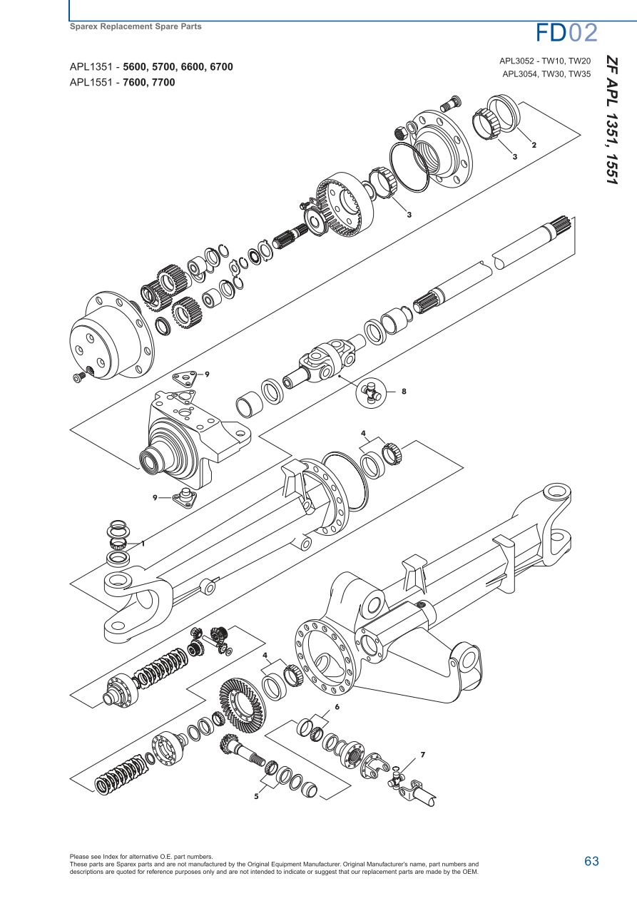 Ford Front Axle Diagram : Ford front axle page sparex parts lists diagrams