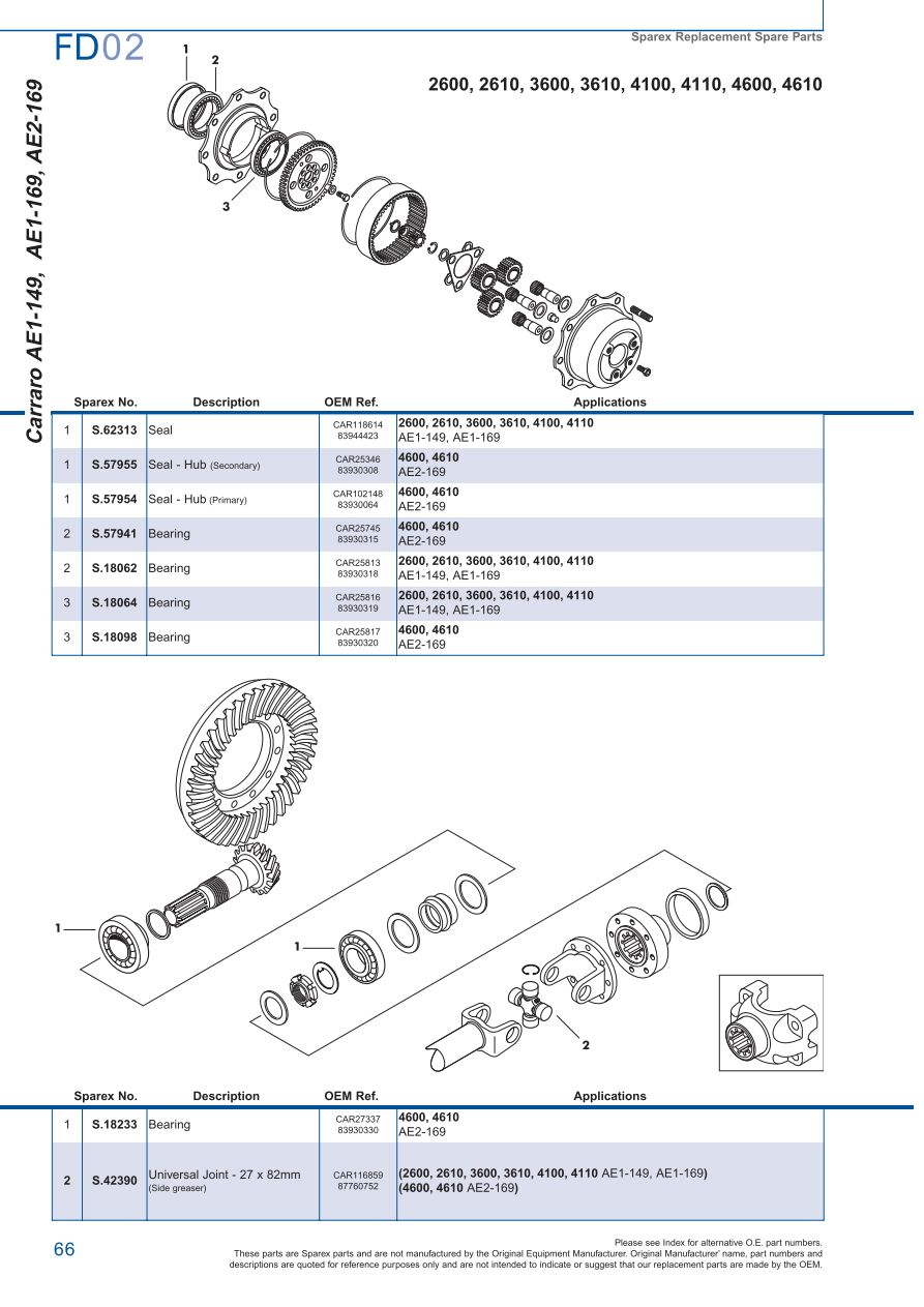 Ford Front Axle Page 72 Sparex Parts Lists Diagrams Differential Diagram S73978 Fd02 66