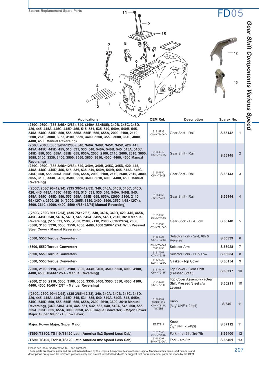 Ford Transmission PTO Page 213 Sparex Parts Lists Diagrams