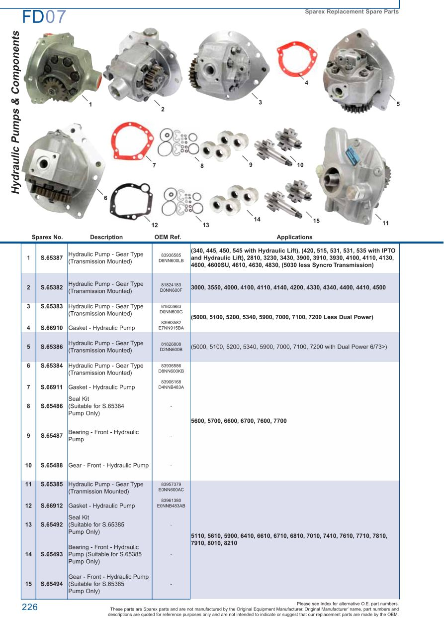 FD07_226 ford hydraulic pumps (page 232) sparex parts lists & diagrams