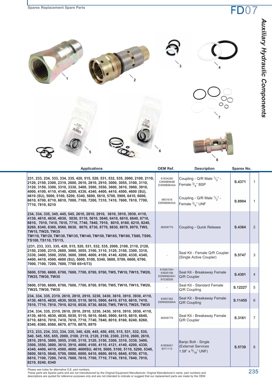 FD07_235 ford hydraulic pumps (page 241) sparex parts lists & diagrams