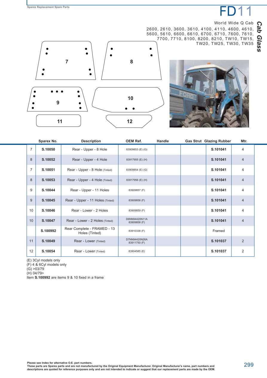 Ford Tractor Cabin Cab Glass Page 305 Sparex Parts Lists Fuel Injected Engine Diagram S73978 Fd11 299