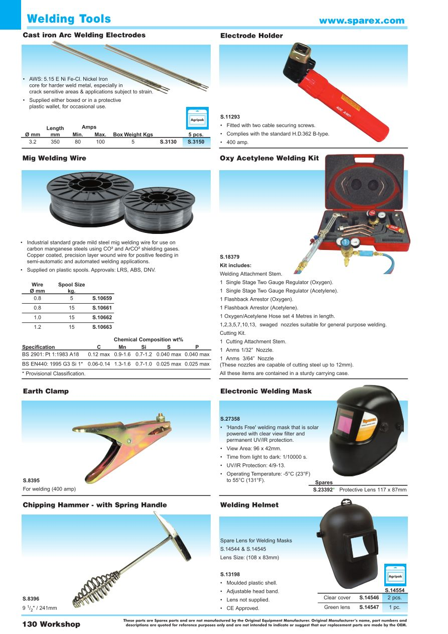 Accessories 2014 Workshop Tools Page 132 Sparex Parts Lists Oxy Acetylene Welding Equipment Diagram S74000 Aa05 130