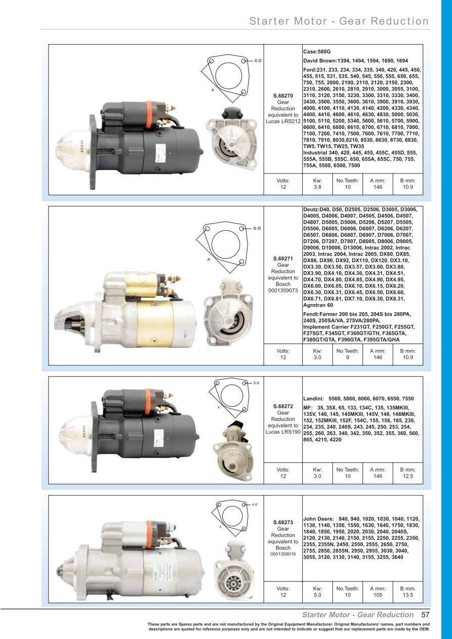 oe new products starter motors page 59 sparex parts John Deere 445 Wiring-Diagram