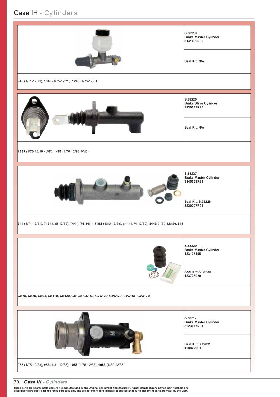 OE New Products ke & Clutch Cylinders (Page 72) | Sparex Parts ... Starter Wiring Diagram Tractor Ih on