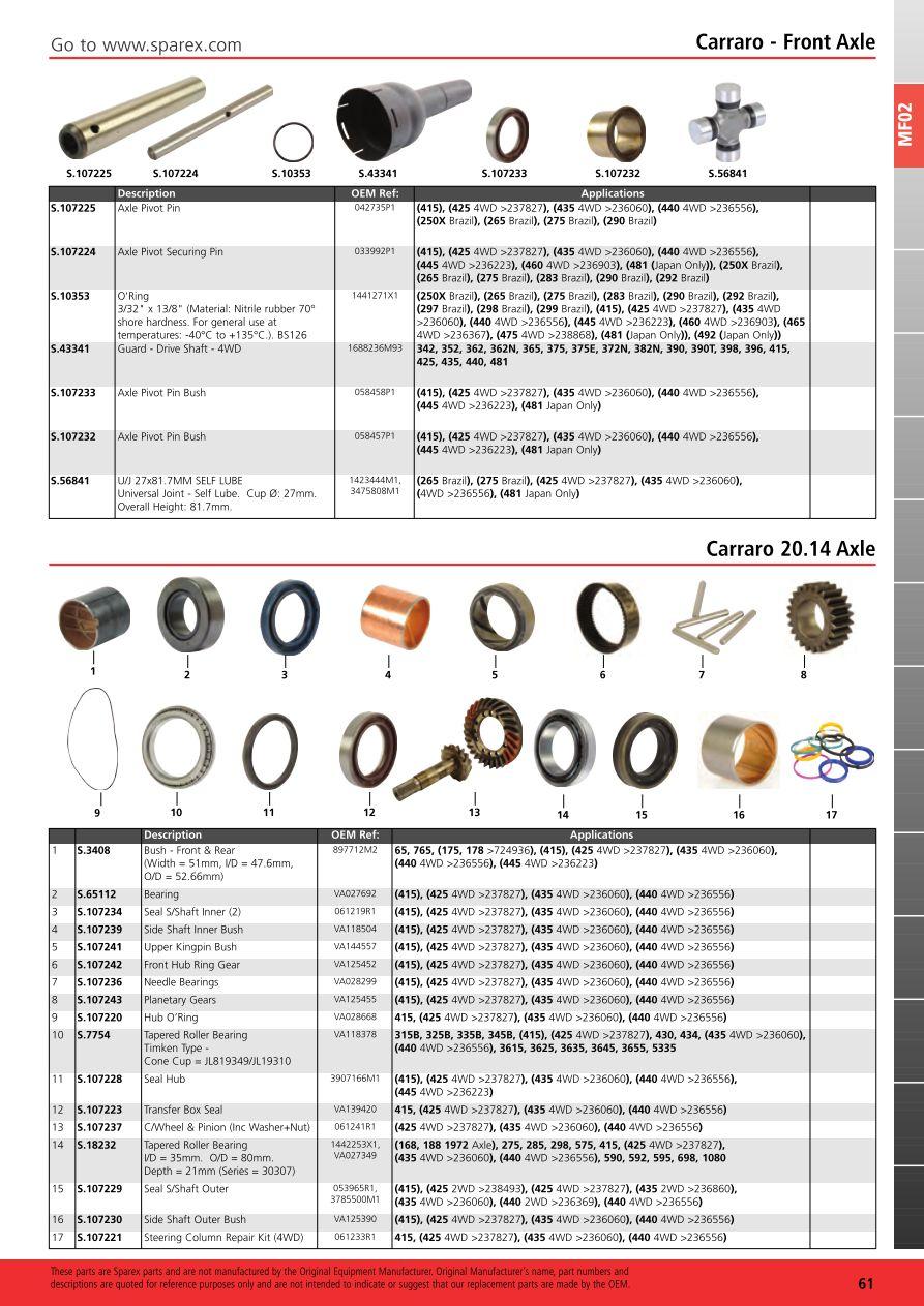 Massey Ferguson 2013 Front Axle Page 67 Sparex Parts Lists