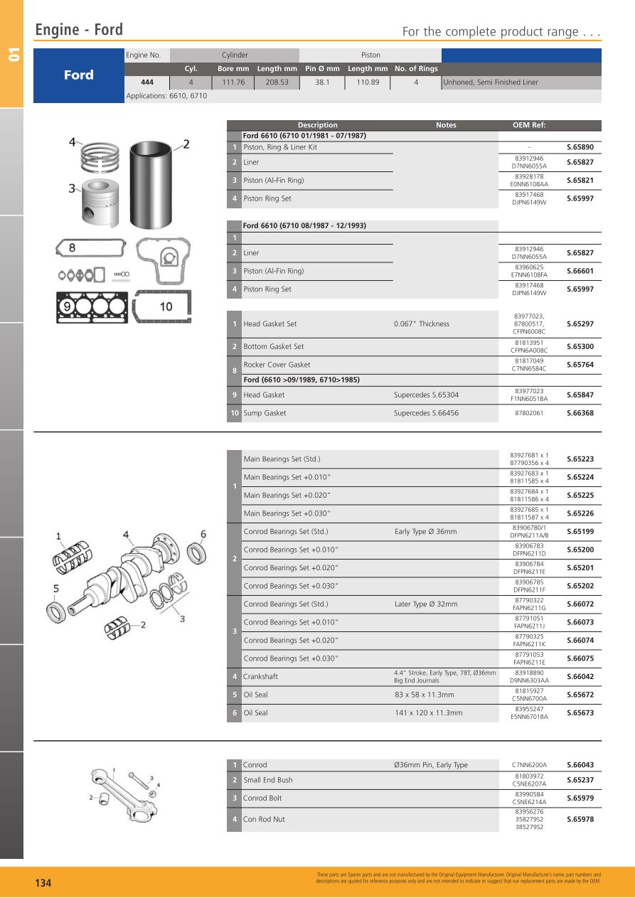 445D STD Ford PISTON 655C 6610 83960625 872 655D E7NN6108FA S.66601 445C