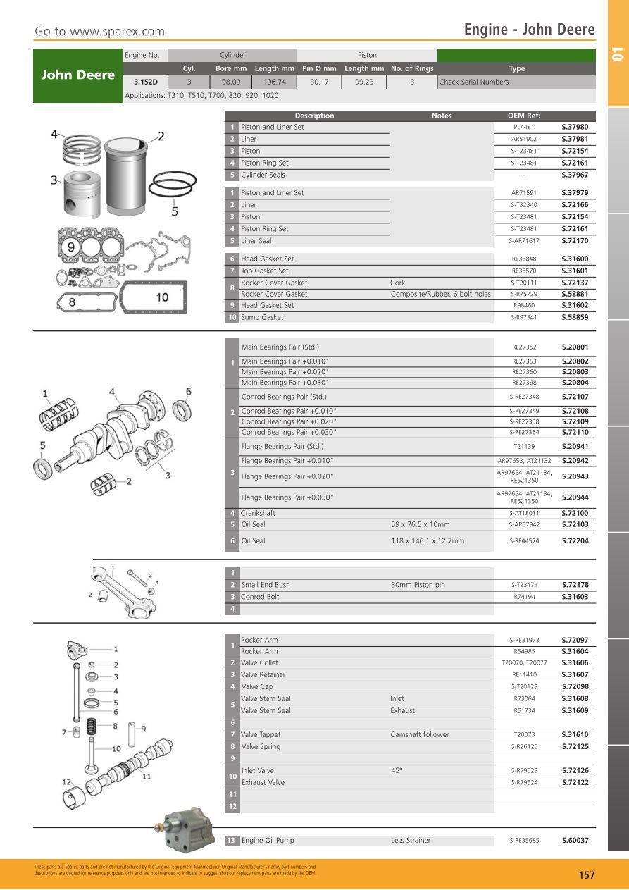 Tractor Parts Volume 1 Engine Page 159 Sparex Lists 302 Diagram 20 Piston S700267 Tp01 157