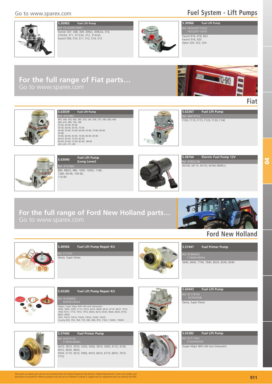 Tractor Parts Volume 1 Fuel System (Page 913) | Sparex Parts