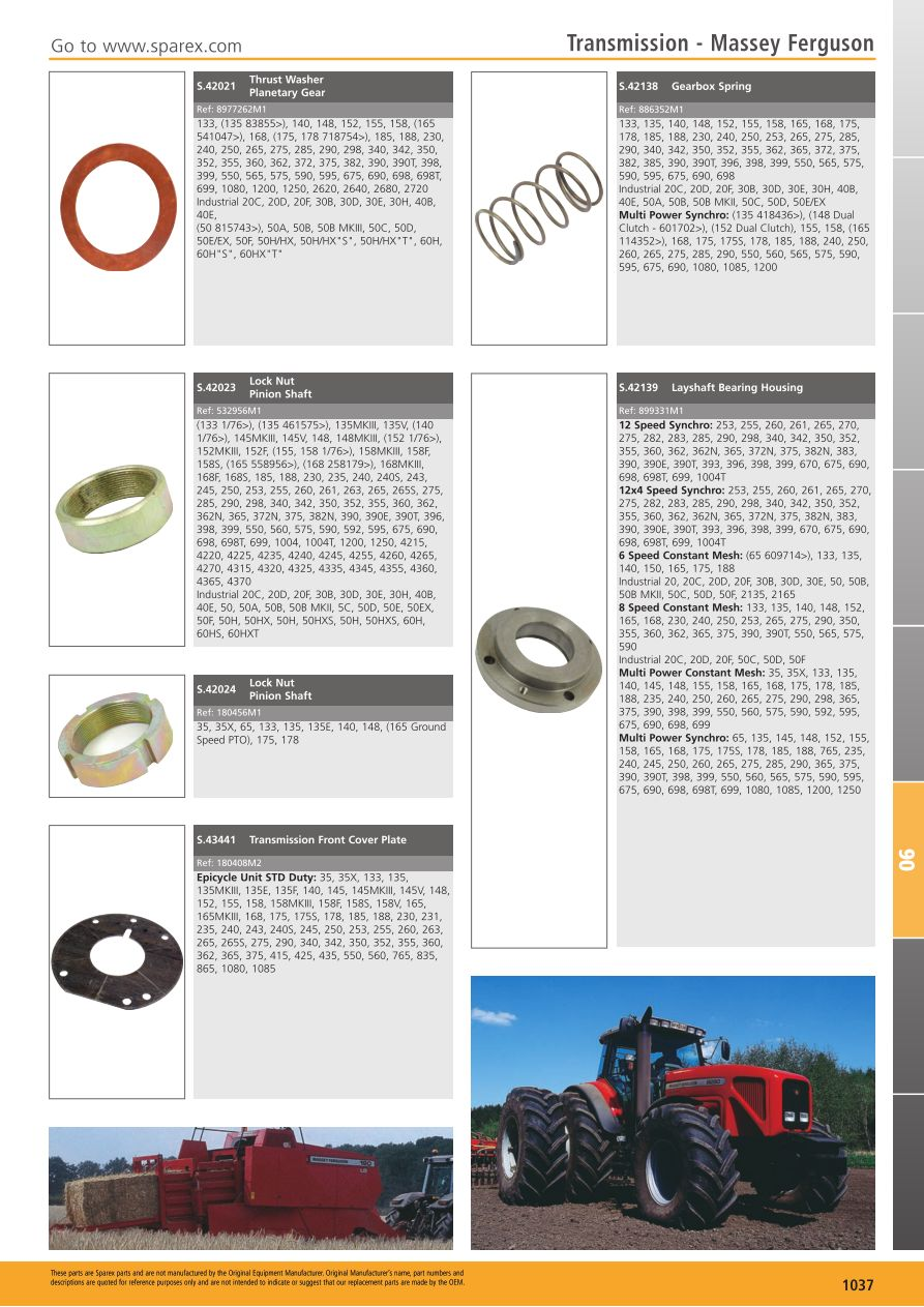 Tractor Parts Volume 1 Transmission (Page 1039) | Sparex