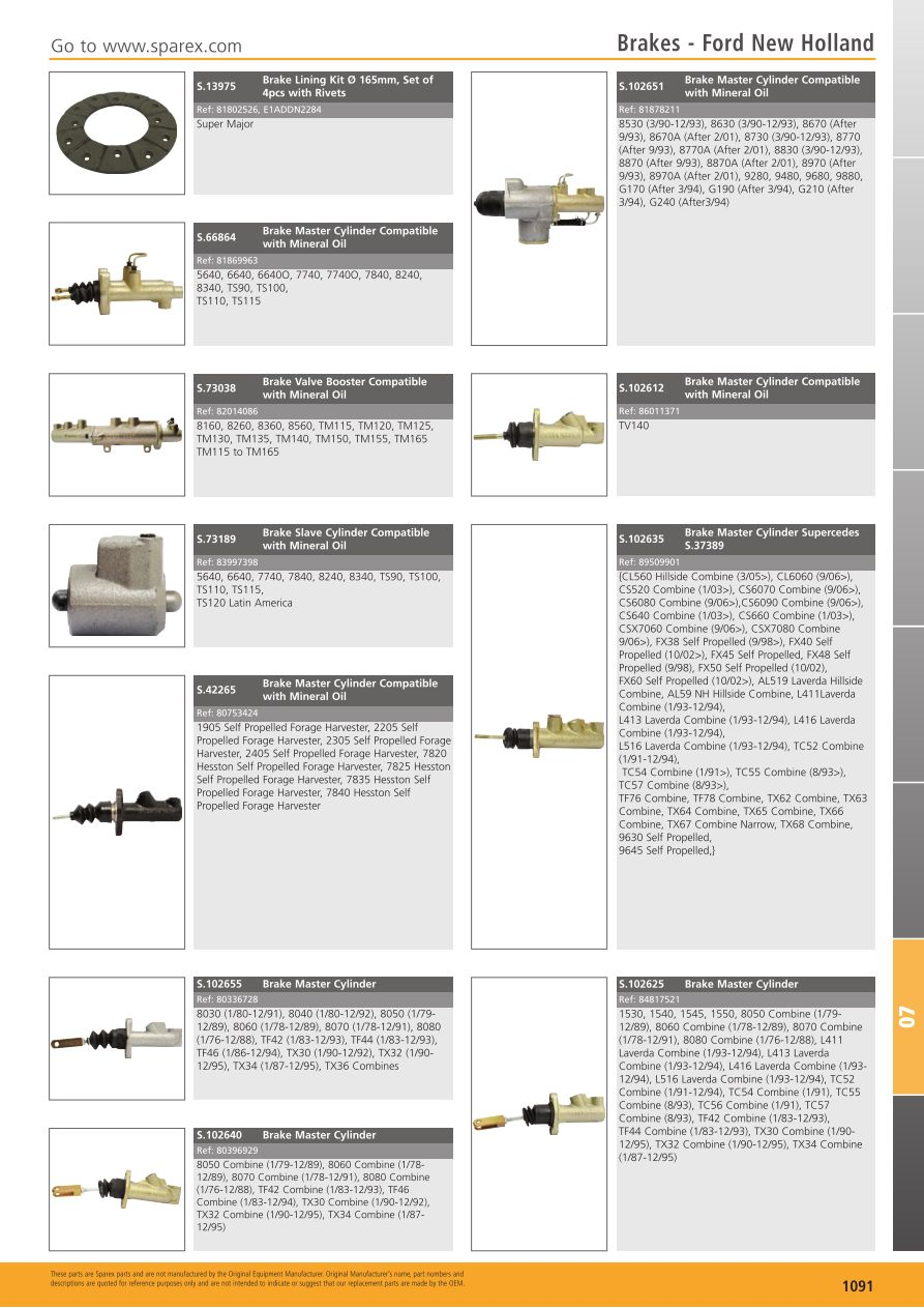 Tractor parts volume 1 brakes page 1093 sparex parts lists s700267 tractor parts volume 1 tp07 1091 ccuart Choice Image