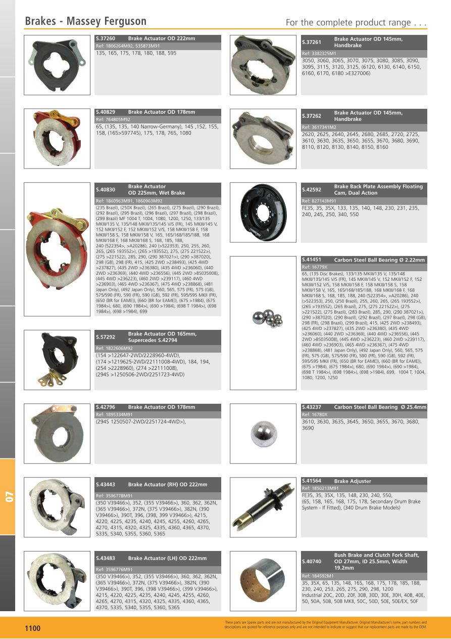 "MF 7/"" Brake Actuator Assembly 764805m92"