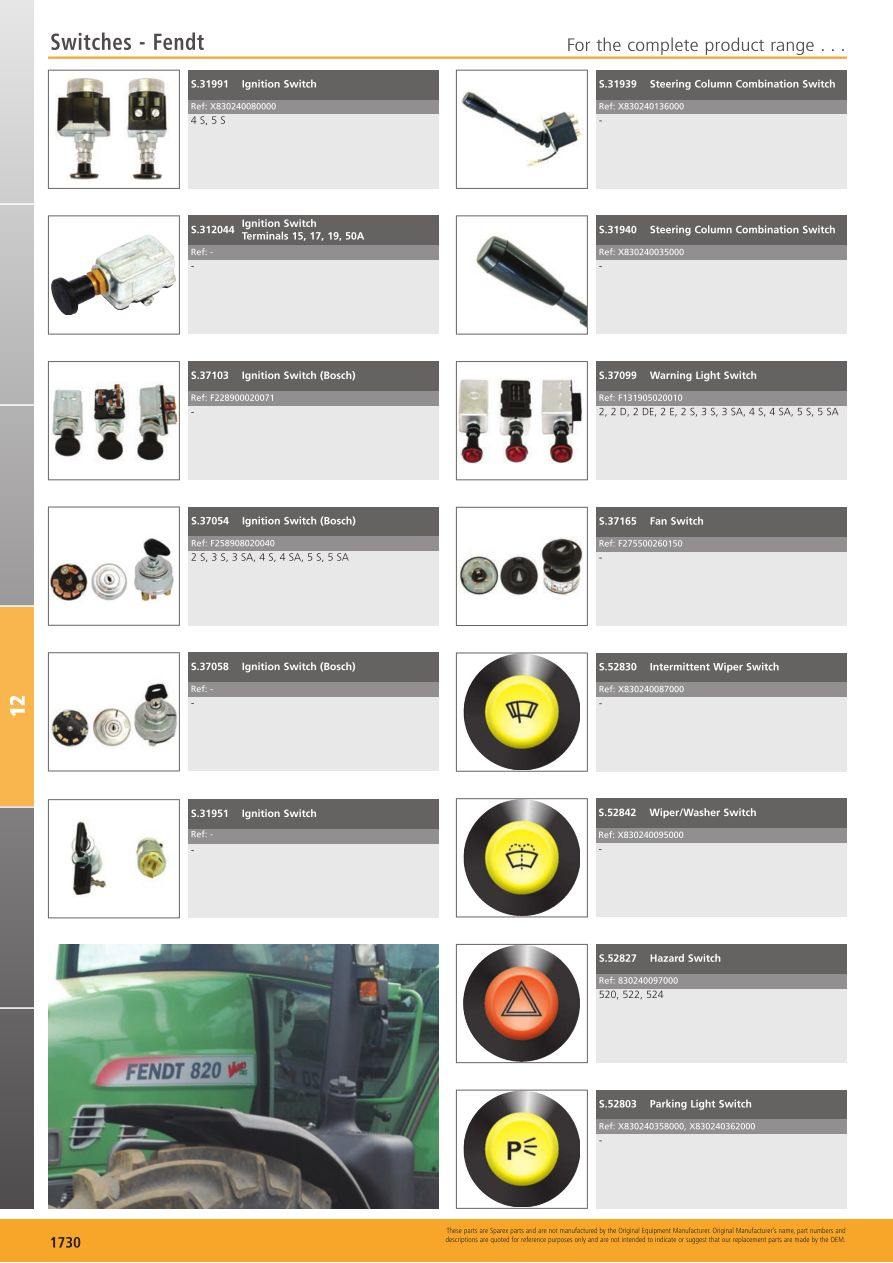 Tractor Parts Volume 2 Electrical (Page 588) | Sparex Parts Lists