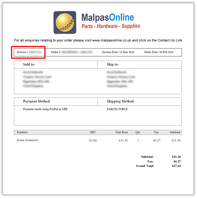 Return invoice template